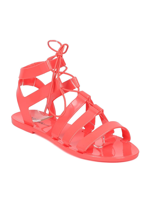 New Women Joanie-130 Jelly Open Toe Lace Up Gladiator Sandal