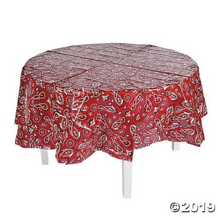 Red Bandana Round Plastic Tablecloth - Round Plastic Table Cloths