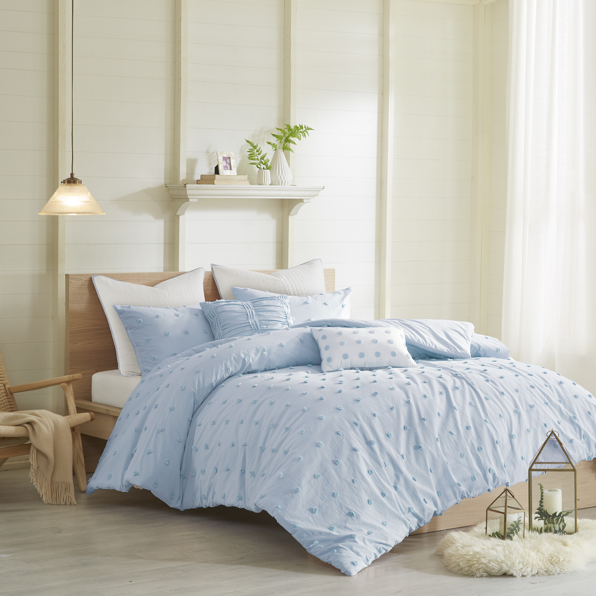 Home Essence Apartment Kay Cotton Jacquard Duvet Cover Set, Full/Queen Ivory White