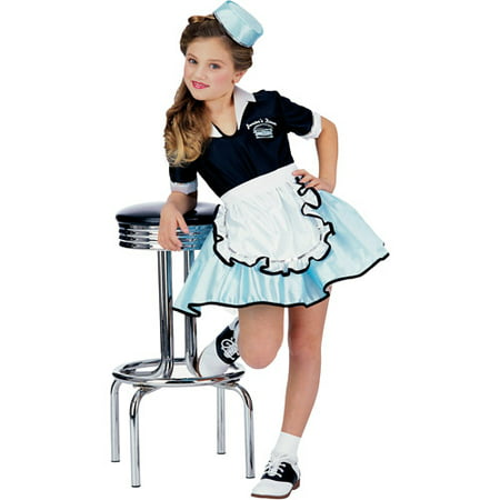Car hop girl child halloween costume L - Car Hop Girl Halloween Costume