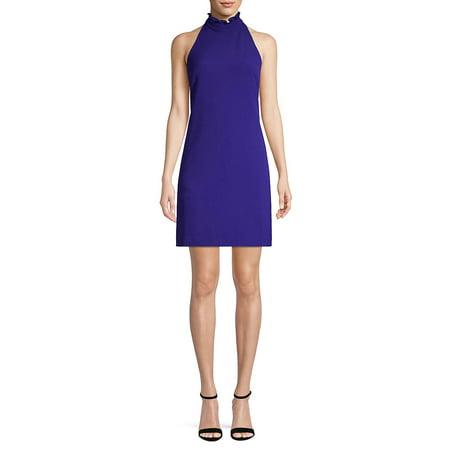 Ruffle-Trimmed High Neck Shift Dress (Bcbgmaxazria Dress Women)