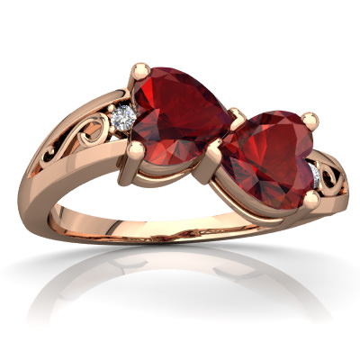 Garnet Snuggling Hearts Ring in 14K Rose Gold by