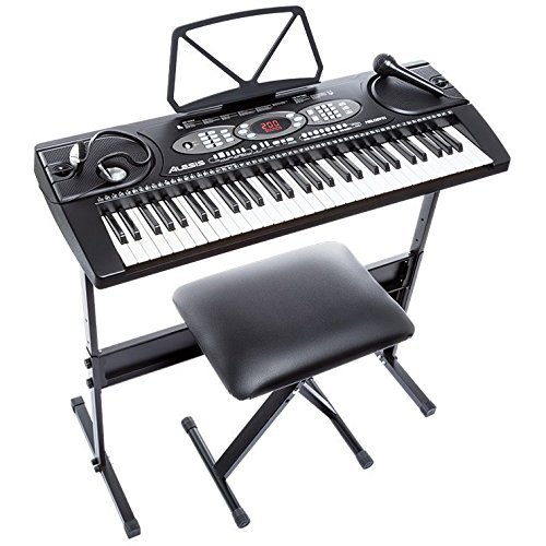 Alesis Melody 61| 61-Key Portable Keyboard with Stand, Bench, Headphones, and Microphone