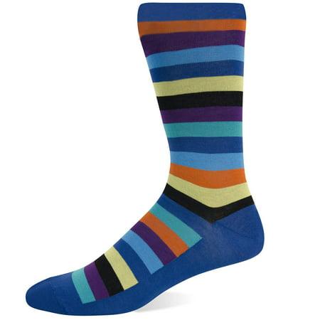 Hot Sox Mens Basics Collection Fun Stripe Crew Sock, 10-13, Royal