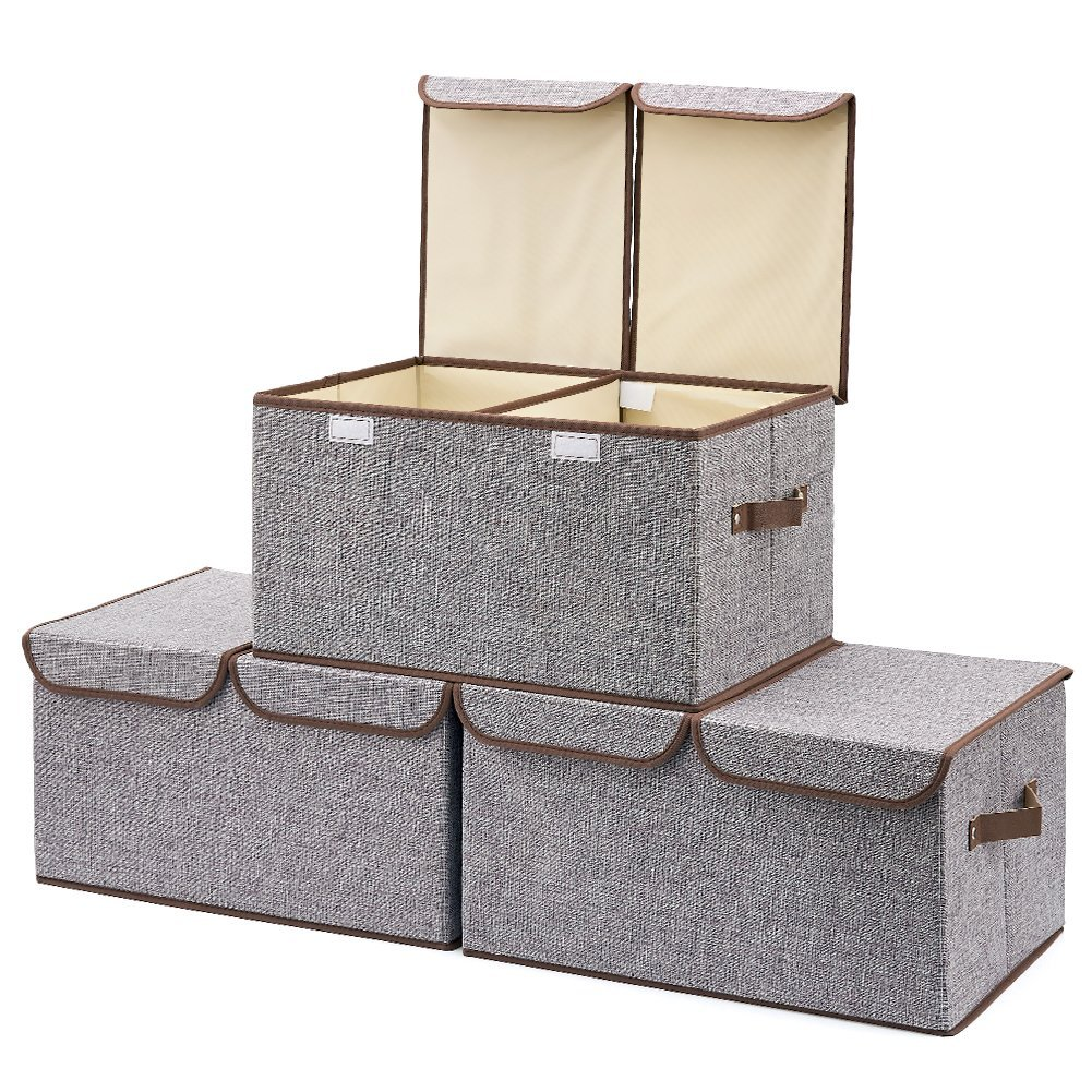 Large Storage Boxes [3-Pack] Large Linen Fabric Foldable Storage Cubes Bin Box Containers with Lid and Handles - Gray For Home, Office, Nursery, Closet, Bedroom, Living Room