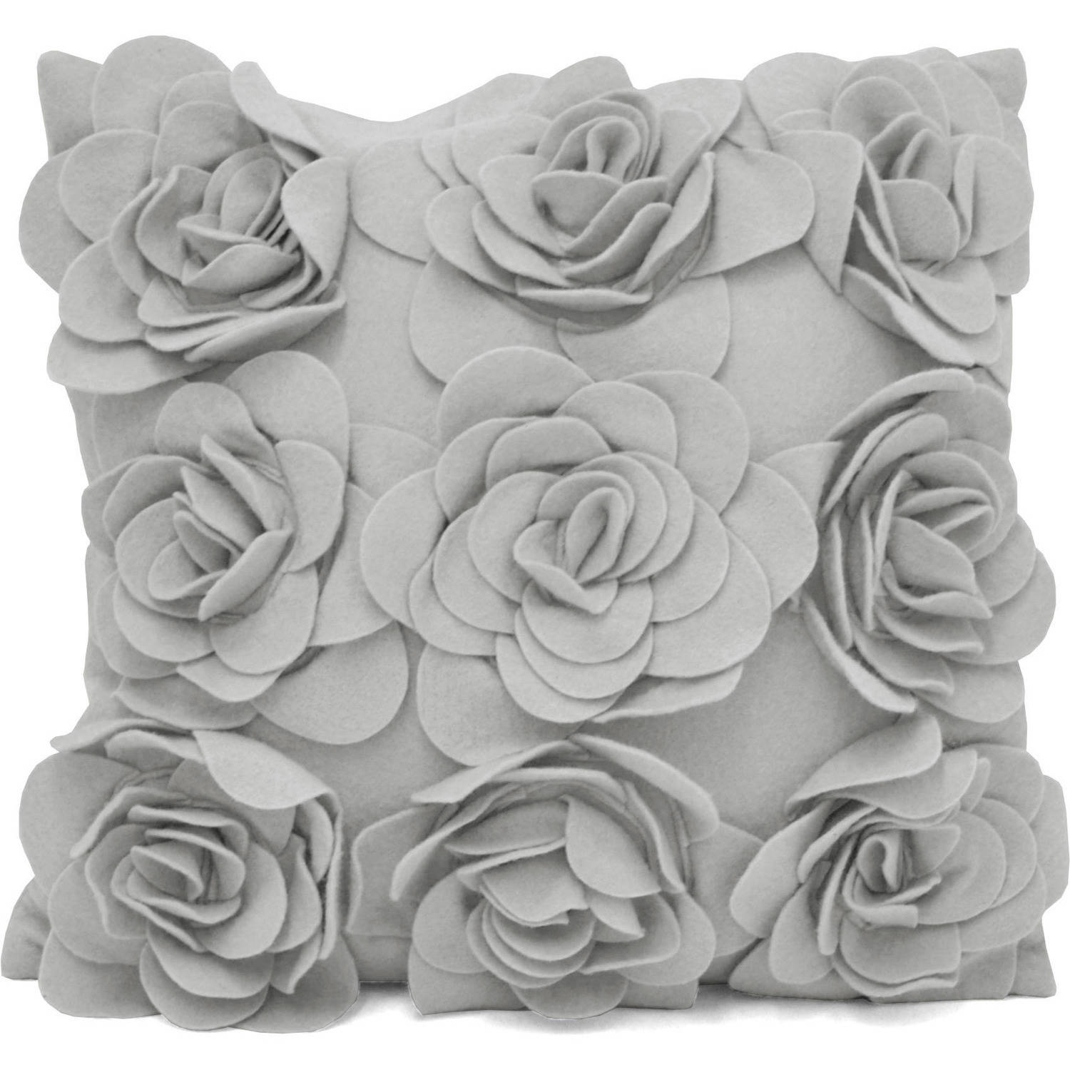 Urban Shop Felt Floral Decorative Pillow