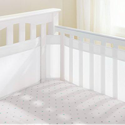 AirFlowBIy 14 Mesh Crib Liner, White Mist, White
