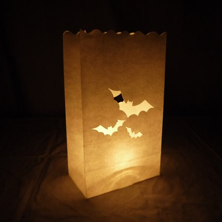 Quasimoon Bats Paper Luminaries / Luminary Lantern Bags Path Lighting (10 PACK) by - Luminary Bags Light