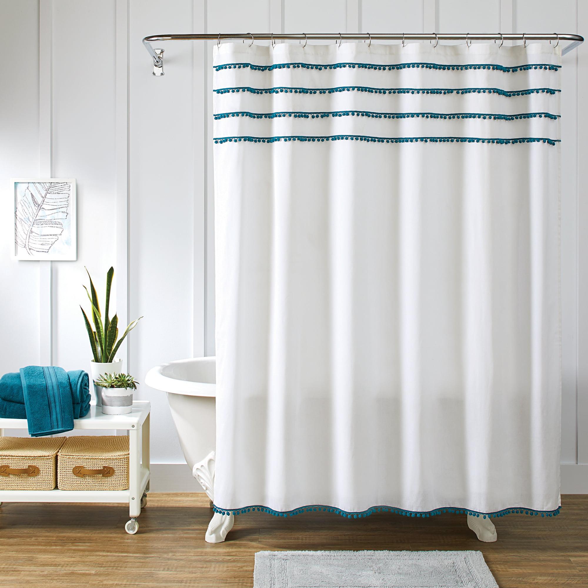 Better Homes & Gardens Pom Pom Fabric Shower Curtain