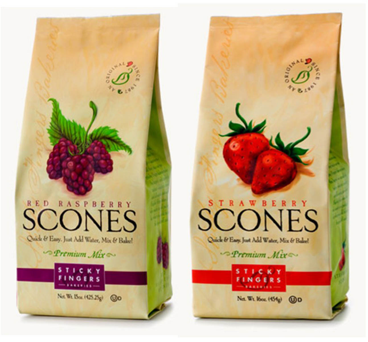 Sticky Fingers Bakeries Red Raspberry & Strawberry Premium Scones Mix 16 Oz. Set of 2 by