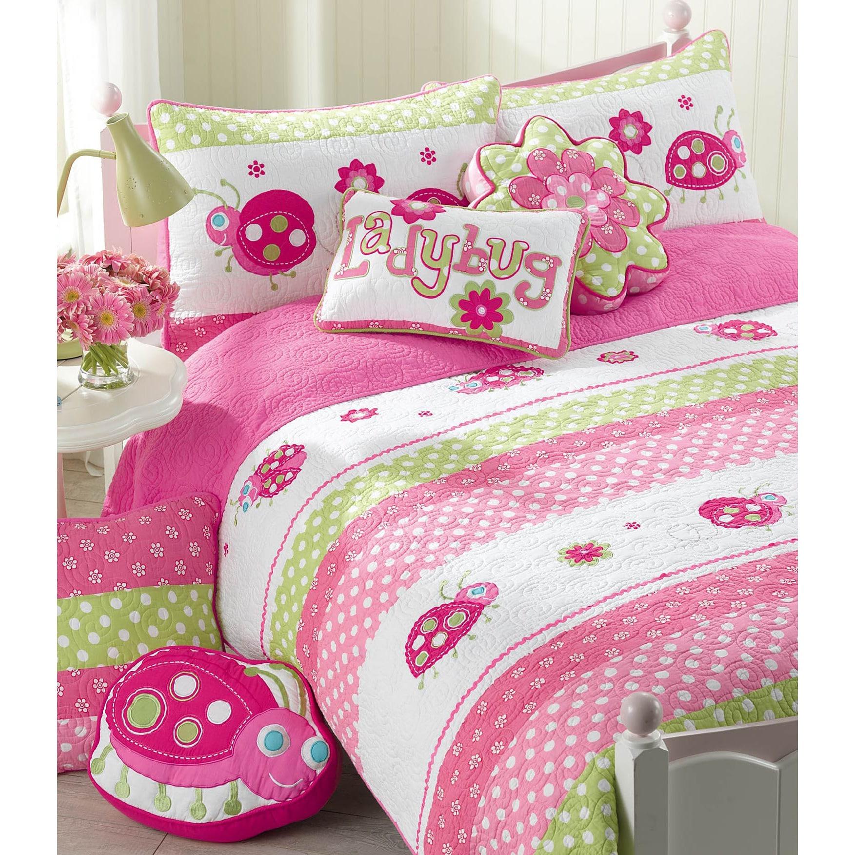 Cozy Line Home Fashions, Inc. Pink Ladybug 3-piece Quilt Set