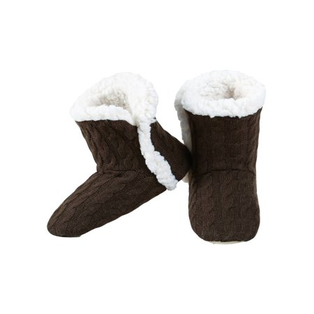 Yelete Womens Cable Knit Slippers House Booties Socks Soft Sherpa Lining Rubber - Adidas Booties