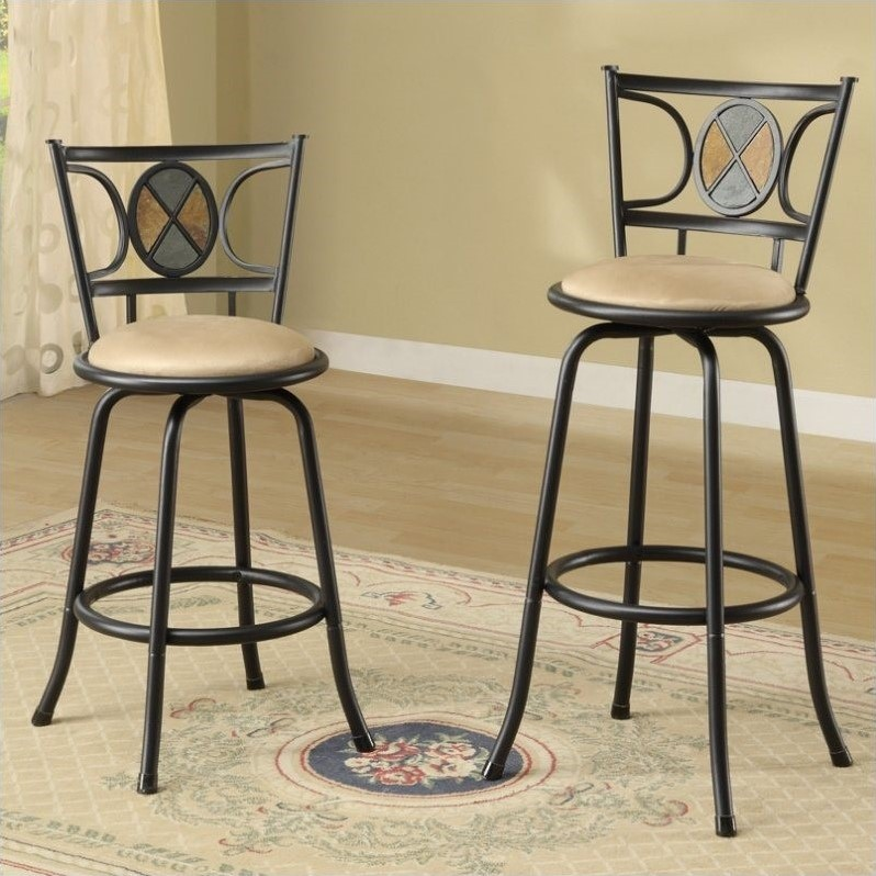 "PoundeX Rector 24""-29"" Adjustable Swivel Bar Stool (Set of 2)"
