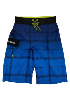 6d79a41555 Product Image Boys Blue Plaid Cargo Surf Shorts Swim Trunks Board Shorts