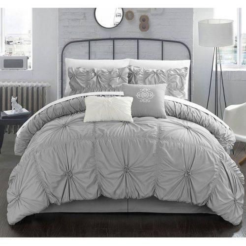 Chic Home 10-Piece Hyatt Floral Pinch Pleat Ruffled Comforter Set