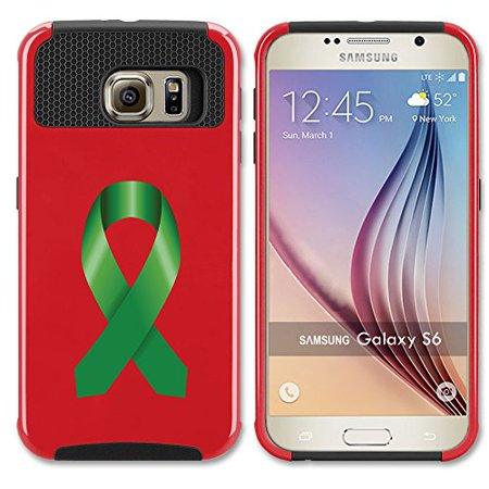 Red Awareness Ribbon (For Samsung Galaxy (S6 Edge) Shockproof Impact Hard Soft Case Cover Liver Cancer Color Awareness Ribbon)
