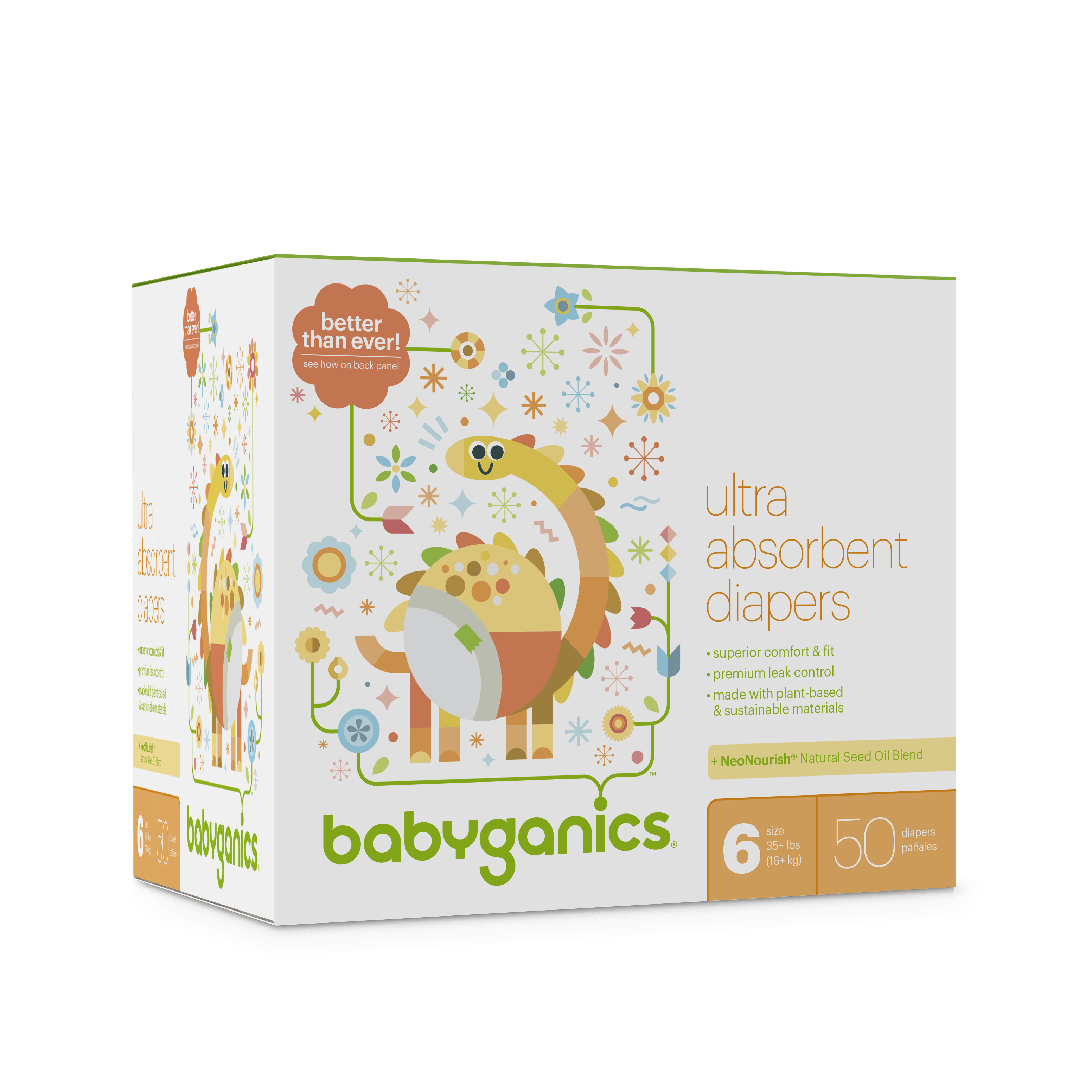 Babyganics Ultra Absorbent Diapers, Size 6, 50 Diapers