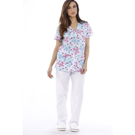 e0a940f1dd3 Just Love Nursing Scrubs Set for Women / Print Scrubs (V-Neck) (Blue  Butterfly with White Pants, Medium)
