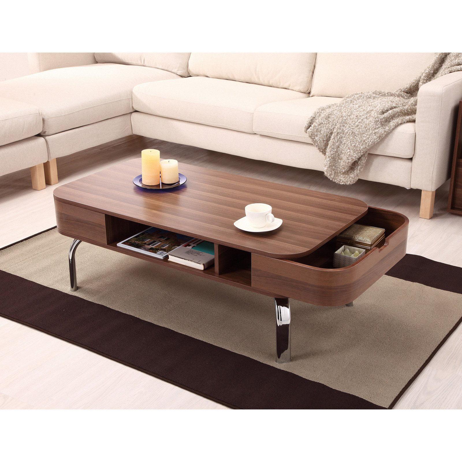 furniture of america lawson modern walnut drawer coffee table walmartcom. furniture of america lawson modern walnut drawer coffee table