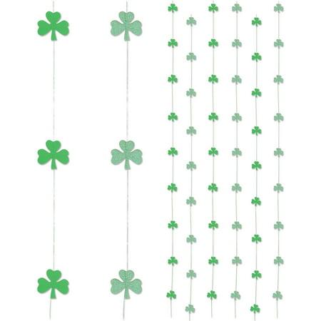 Patricks Day Picks - Beistle 6 Pack Shamrock Stringers St Patrick Day 6' Hanging Decorations, Green