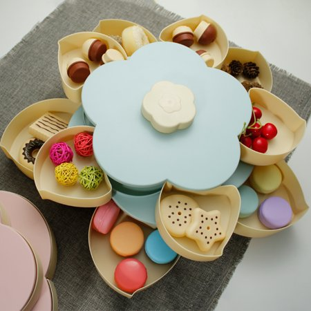 Double Layers Snack Box Candy Plates Petal-Shape Rotating Snack Tray Double-deck Dried Fruit Plate Storage Organizer Box - image 4 of 7