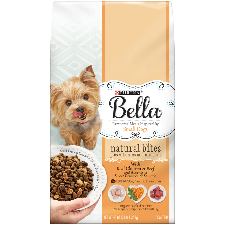Purina Bella Natural Bites Plus Vitamins and Minerals With Real Chicken & Beef and Accents of Sweet Potatoes & Spinach Adult Dry Dog Food - 3 lb. Bag