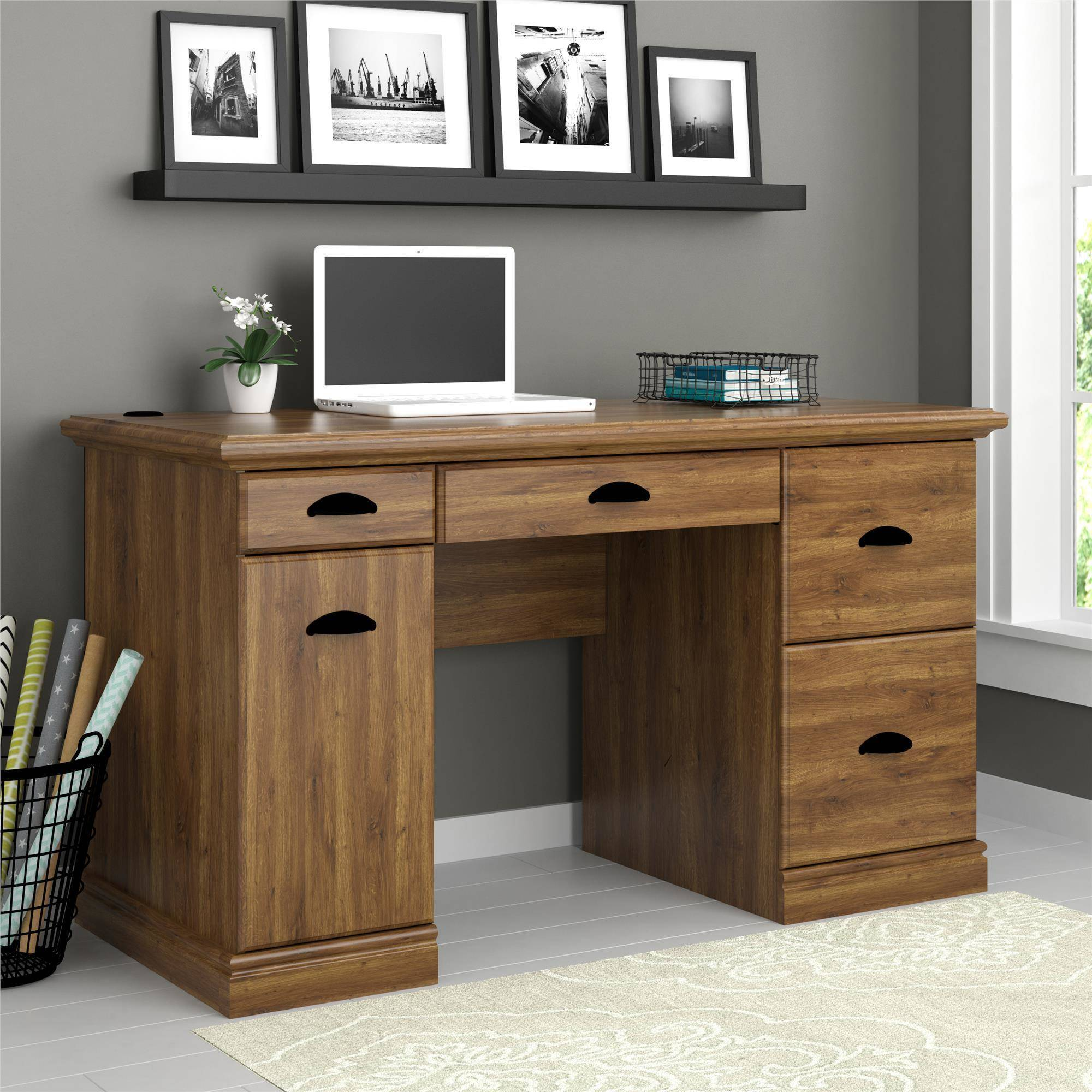 Better Homes and Gardens Computer Desk with Filing Drawers, Brown ...