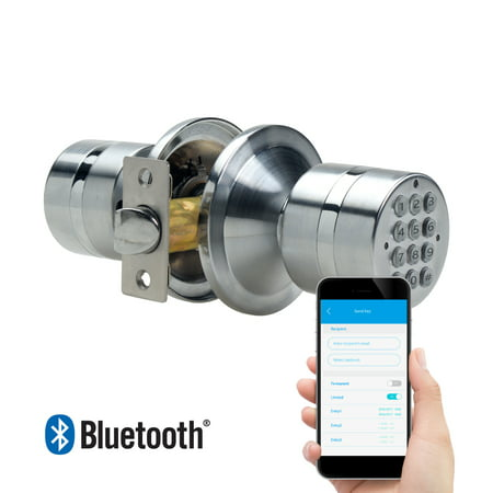 TurboLock Weatherproof Electronic Smart Bluetooth Keyless Door Lock w/ App, Live Monitoring, and Keyless Entry - Easy Installation