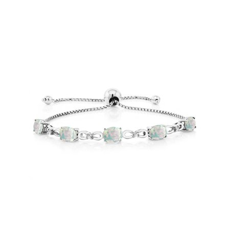 Opal Sterling Silver Tennis Bracelet - 925 Sterling Silver Adjustable Diamond Tennis Bracelet Oval White Simulated Opal