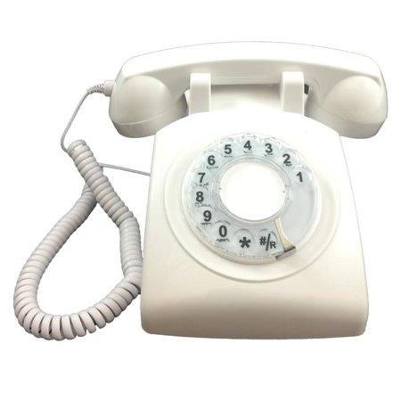 Rotary Single Line Desk Phone - White