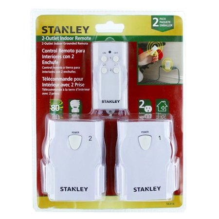stanley twin 2 outlet indoor grounded remote control with single wireless transmitter