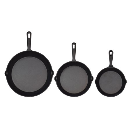 Jim Beam Skillets, Set of 3 Cast Iron Skillets, Pre-Seasoned Cast Iron Skillet, Heavy Duty Construction Skillet for Superior Heat Retention and Even Cooking Ideal for Grills and Oven