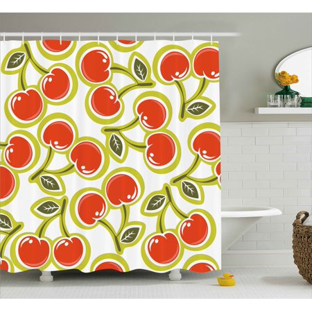 Fruit Shower Curtain, Sweet Yummy Ornate Cherry and Leaves Pattern Fresh Food Fun Art Picture, Fabric Bathroom Set with Hooks, 69W X 84L Inches Extra Long, Apple Green Red White, -