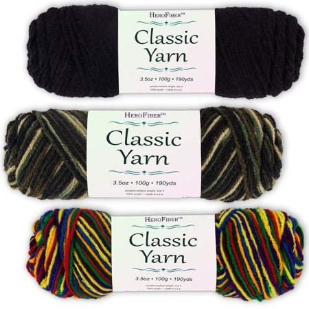 Soft Acrylic Yarn 3-Pack, 3.5oz / ball, Black Night + Blend Camo + Blend Mexicana. Great value for knitting, crochet, needlework, arts & crafts projects, gift set for beginners and
