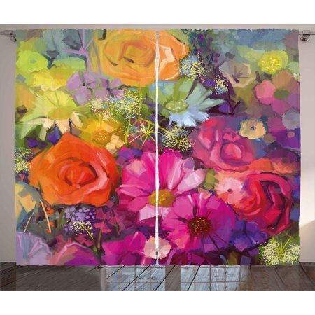 Floral Curtains 2 Panels Set, Vibrant Flower Bouquet with Daisy ...