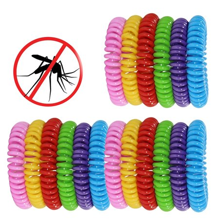 18 Pack Natural Mosquito Insect Repellent Bracelets Outdoor Indoor Bug Pest Control Wristbands for Babies Toddler Kids (Yellow Blue Pink Red Green
