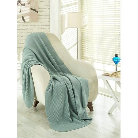 (Ottomanson Plush Soft Cotton Reversible, Striped, Solid and Trellis Fleece Throw Blankets, 50