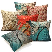 Non-3D Printed Flower Tree Cotton Linen Decorative Throw Pillow Case Cushion Cover 18''x18''Pillowcase Pillow Protector Slip Cases Sham for Car Couch Sofa Home