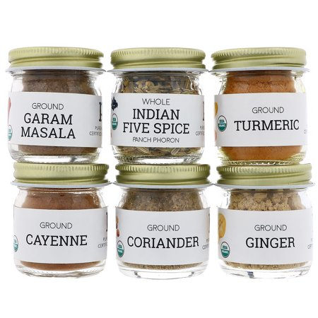 Pure Indian Foods  Organic Indian Spice Starter Kit  Experience Level  Beginner  Variety Pack  6 Seasonings