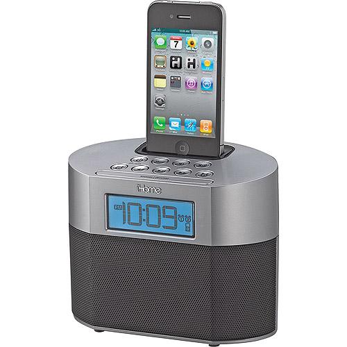 iHome iPod/iPhone Dual Alarm Clock IP23GV, Gunmetal