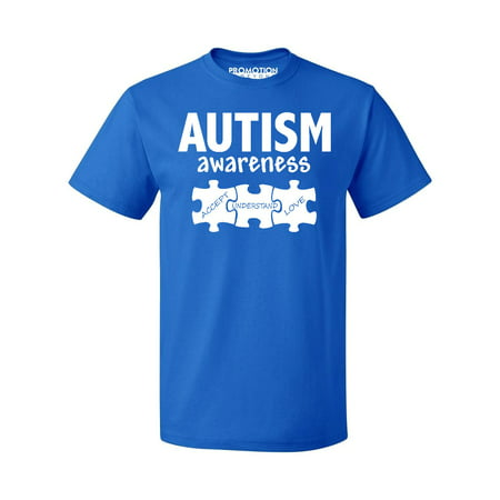 Autism Awareness Support Jigsaw Puzzle Men's T-shirt, 3XL, Royal