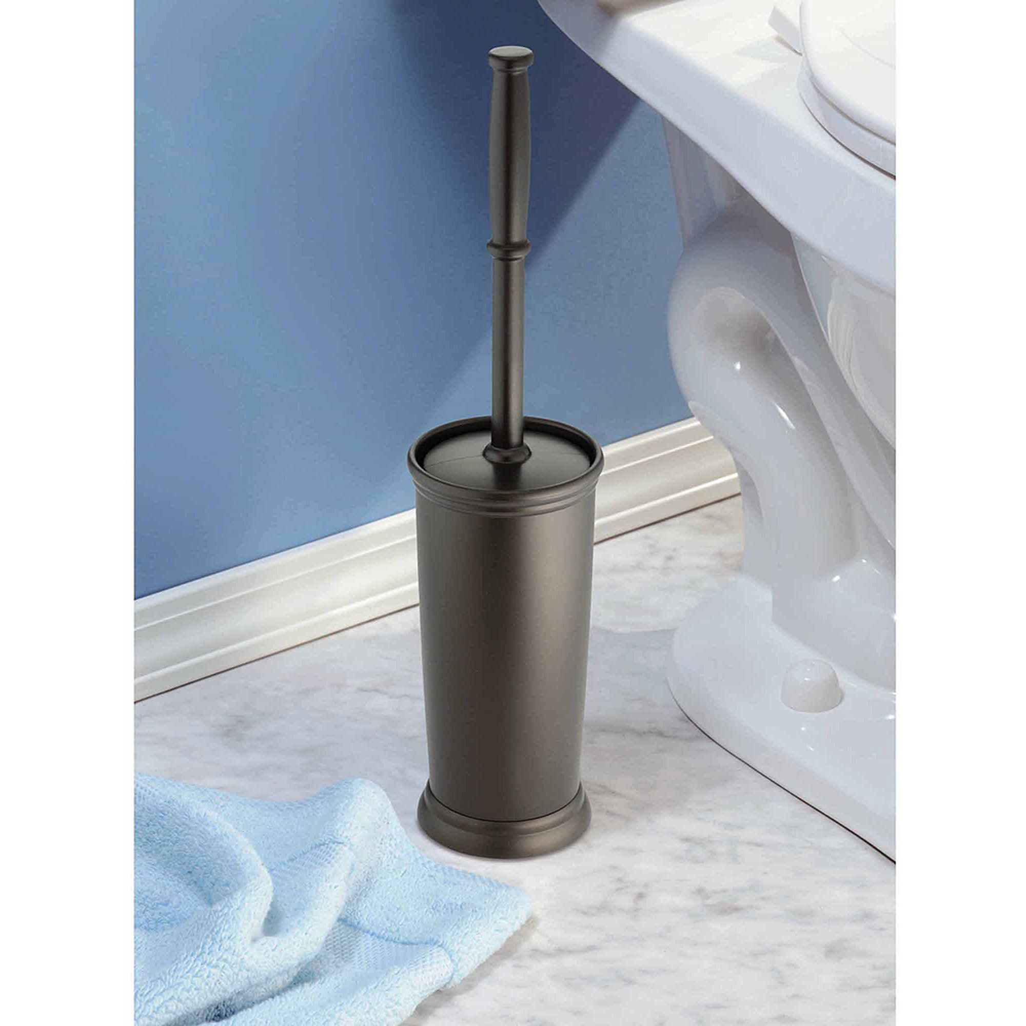 InterDesign Kent Bathware, Toilet Bowl Brush and Holder for Bathroom Storage, Bronze