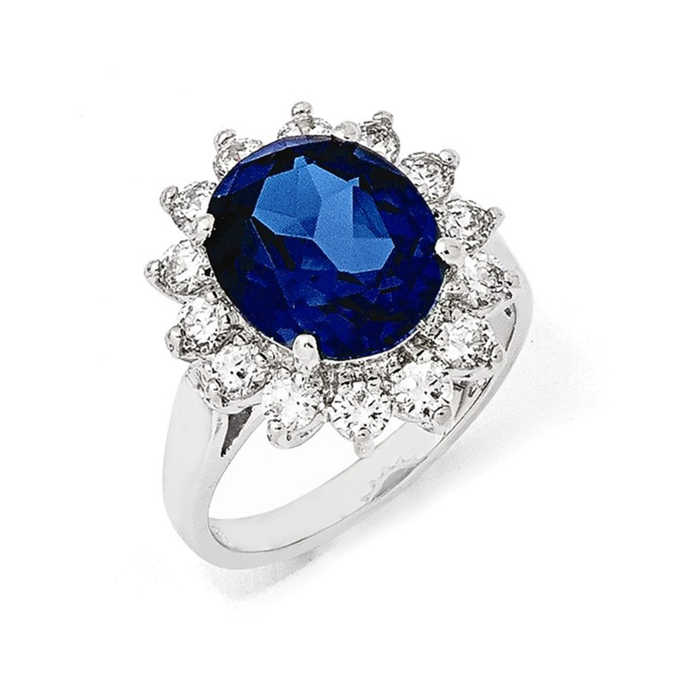 Cheryl M Sterling Silver CZ & Synthetic Dark Blue Spinel Ring Size 6