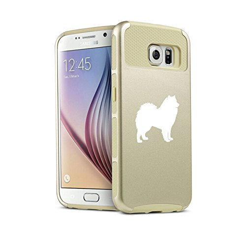 For Samsung Galaxy S6 Shockproof Impact Hard Soft Case Cover Samoyed (Gold)