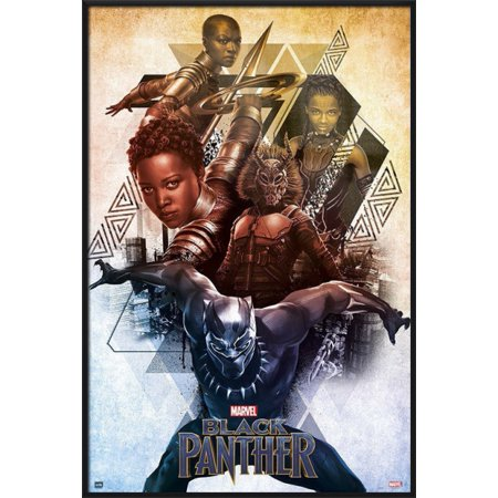 Black Panther - Framed Marvel Movie Poster / Print (Characters) (Size: 24