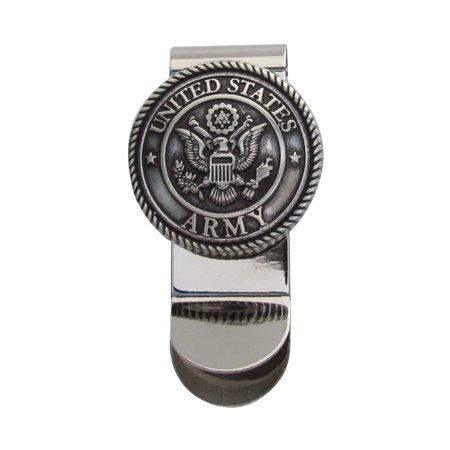 Silver US Army 3D Seal Money Clip Mens Concho Card Holder Men's Wallet Vet -