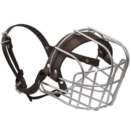 Metal Wire Basket Dog Muzzle Rottweiler Large Male. Circumference 16.5', Length 4.5' (Coated Wire Muzzle)