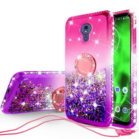Diamond Pink Motorola Faceplates - SOGA Diamond Glitter Bling Liquid Floating Quicksand Cute Girl Phone Case Compatible for Motorola Moto G7 Power Case, with Metal Ring for Magnetic Car Mounts Include Lanyard - Purple on Pink