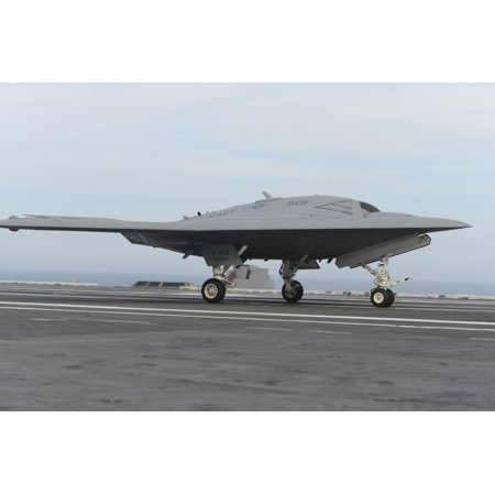 Atlantic Ocean May 21 2013   An X 47B Unmanned Combat Air System Demonstrator Conducts A Touch And Go Landing On The Flight Deck Of The Aircraft Carrier Uss George Hw Bush Poster Print