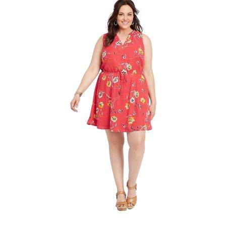 a2c0c88075b maurices - Plus Size Retro Floral V-Neck Dress - Walmart.com